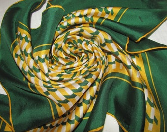 Vintage Square Scarf in Green and Yellow - Geometric Print - Simple, Small Scarf in Lightweight Silk