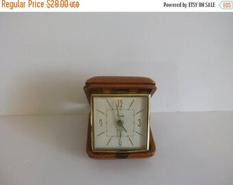 50% off Sale ON SALE Vintage Travel Alarm Clock, Leather case, Portable Clock. Grants clock, made in Germay