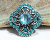 Aqua Rhinestone snap charm - Chunk charms - Fits Ginger Snaps, Magnolia Vine, Noosa - 18-20mm - Snap buttons