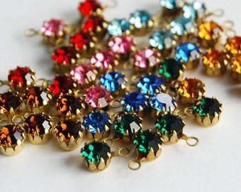 Vintage 6 Swarovski Rhinestone Pendant Beads Aged Brass • 23ss 5mm • Assorted Colors