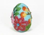 Easter Egg Beaded Floral One Of A Kind Spring Decoration *READY TO SHIP