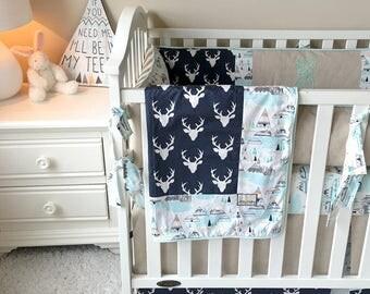 Mint & Navy Boy Bedding, Boy Crib Sets, Tee Pees Crib Sets, Crib Sets for Boys, Linen Crib, Navy Deer Boy Bedding