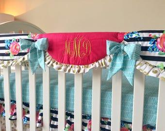 Watercolor Floral Rail Cover, Crib Rail Cover, Aqua Teething Rail Guard, Pink Crib Rail Guard, Bumperless Crib Bedding, Crib Rail Guard