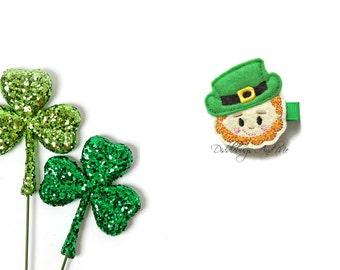 Leprechaun Hair Clip, St Patricks Hair Clip, Felt Hair Clips, Toddler Hair Clips, Clips For St Patrick's Day, St Patty Day Hair Clip,