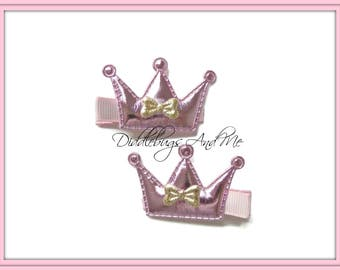 Pink Crown Hair Clips, Gold and Pink Crown Hair Clips, Baby Hair Clips, Princess Crown Hair Clips, Piggy Tail Clips, Girls Hair Accessory