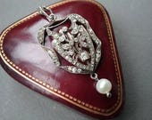 French Paste Stone Antique 900 Silver Pearl Pendant  Heirloom Free Shipping To The Usa and Canada