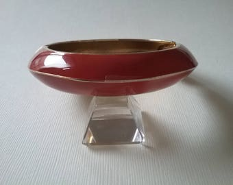 Enamel Hinged Bangle Bracelet Rich Rust  Deep Coral Brick Red Terra Cotta Free Shipping To The Usa And Canada
