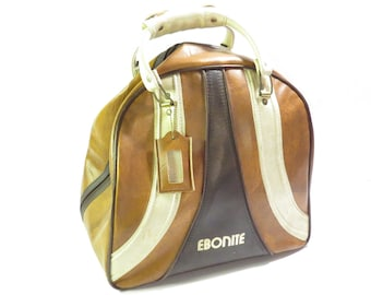 Brown and White Ebonite Bowling Bag Vintage 1970s 1980s Retro Bowling Ball Travel Bag