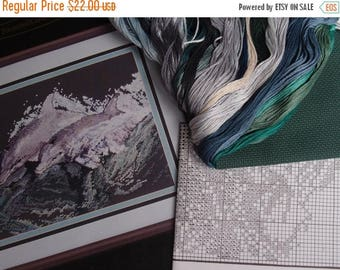 SALE SALE SALE Vintage Counted Cross Stitch Dolphins At Play Ocean Sea Beach Nautical Do It Yourself Stitchery Embroidery Supplies