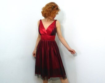 Vintage Red Dress Glittery Silk Mesh Party Prom Cocktail Dress XS/S