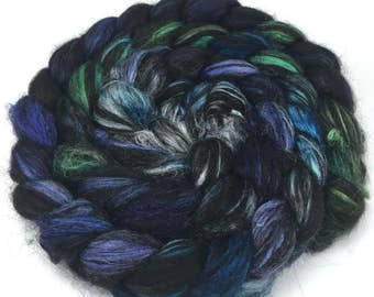 Spinning Fiber - Alpaca & Silk Combed Top / Roving - Black Sea