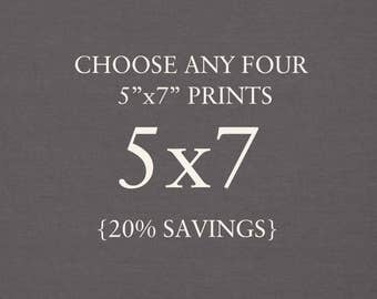 """You Choose Any Four 5""""x7"""" Photographs. Collection. 20% Savings. Affordable Home Decor. Wall Art, Gift Set."""