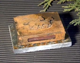 Mini Match Box Cover - Black Slate and Patina Rust