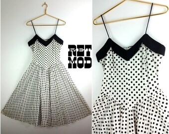 Adorable Vintage 80s Sweetheart Style Black & White Polkadot Sun Dress with Full Skirt!