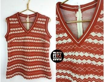 Preppy Vintage 60s 70s Brick Red & White Double Knit Vest Top!