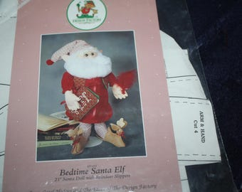 bedtime Santa Elf 21 inch Santa doll with reindeer slippers pattern cut