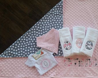 Baby girl bundle, shower gift, bundle of joy package, baby girl blanket, personalized baby blanket, monogrammed baby blanket