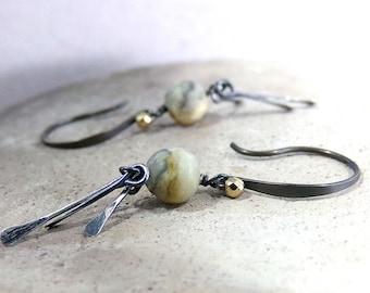 Yellow Earrings, Yellow Agate Earrings, Sterling Silver, Yellow Gray Earrings, Fringe Earrings, Natural Stone, Long Dangle - Desert Moon