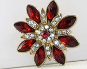 Vintage Red and Clear Rhinestone Floral Brooch Pin (B-2-6)