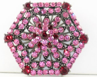 Vintage Pink and Red Rhinestone Layered Hexagon Brooch Pin (B-2-6)