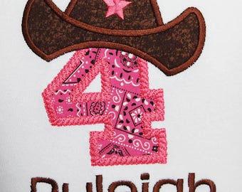 Personalized Pink Bandana Cowgirl Birthday Shirt or Bodysuit, Cowgirl Birthday Party, Farm Birthday Shirt, 4th Birthday, Custom, Any Age