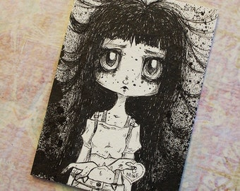 Original Inktober ACEO No 4 Love Cannibal  lowbrow art
