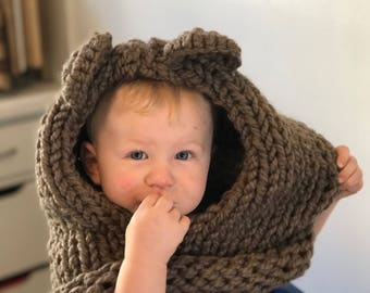 Knit bear hood for kids or adults