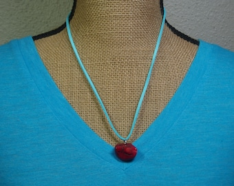 Natural AAA Grade Red Coral Pendant, Blue Suede Necklace