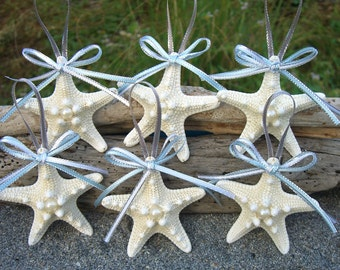 Beach Starfish Christmas Ornament,Nautical Ornament,Coastal Christmas,Beach Lover,Starfish Ornament,Mermaid Ornament,Beach Wedding Favor