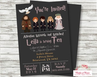 Harry Potter Birthday Invitation - Invitation with Photo - Printable Invitation - Digital Files - Harry Ron Hermione Hedwig Dumbledore