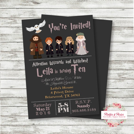 Harry potter birthday invitation invitation with photo - Invitation anniversaire theme harry potter ...