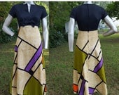 SALE 30% OFF 70s Prom Dress / 70s Costume/ Vintage Dress/ Vintage Maxi Dress/ 70s Dress/  Tropical Dress by Tori Richards in Fab Patchwork F