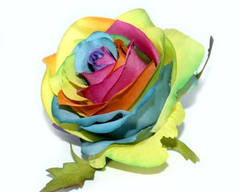 1 Long Stem Confetti Rainbow Rose -  Artificial Flower, Silk Flower