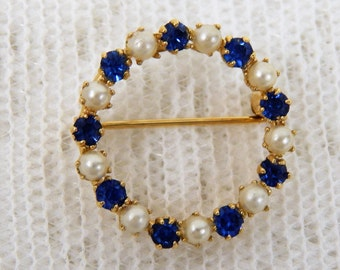 Gold Filled Circle Brooch with Blue Sapphire Colored Stones and Cultured Pearls  Free ship in US