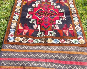 "Red Baluchi rug/kilim from Afghanistan. 4ft 2"" x 2 ft 6. 128 x 79 cm Hand woven."