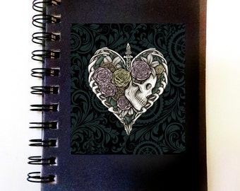 Steampunk Skeleton Heart & Love Spiral Notebook Planner, Original Day of the Dead Gothic Dark Art Design