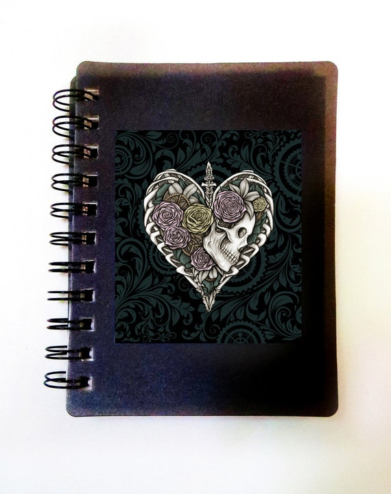 Steampunk Skeleton Heart Notebook Journal. Art by Sherrie Thai of Shaireproductions.com