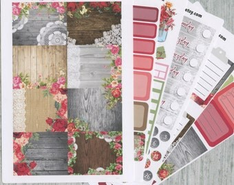 A LA CART Shabby Chic Weekly Planner Sticker Sheets