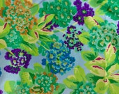 Philip Jacobs Primula, Kaffe Fassett collective, green, OOP, rare, by the half yard blue green floral