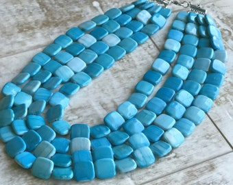 Aqua Blue Chunky Necklace, Multi Strand Necklace, Blue Chunky Necklace, Statement Necklace, ACRYLIC Necklace