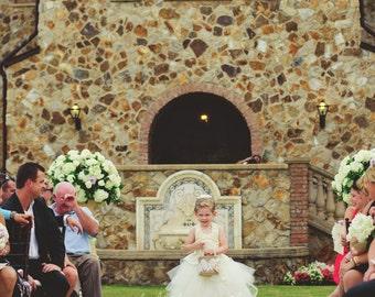 Landmark Wedding Flower Girl Dress . Tutu Skirt . Halter Top with Lace straps