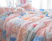 SPECIAL ORDER FOR Mrs Lyon Gorgeous Vintage Chenille Patchwork Quilt With Matching Pillow Shams King Size Set