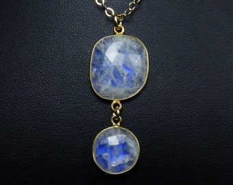 Large Rainbow Moonstone Necklace, Faceted Large Rainbow Moonstone Pendant, Vibrant Cobalt Blue Fire, Gold Bezels and Chain
