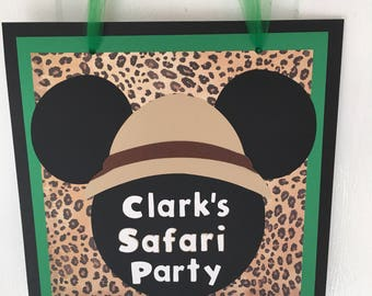 Mickey Safari Inspired Door Sign Mickey Mouse Happy Birthday Door Sign Mickey Animal Print Zoo Birthday Party Decoration Red Mickey Die Cut
