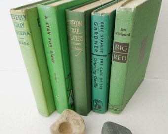 Shades of Green Books for Decor - Instant Library - Bookshelf Decor - Wedding Centerpiece