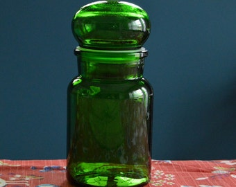 Vintage Large Green Bubble Top Apothecary Bottle