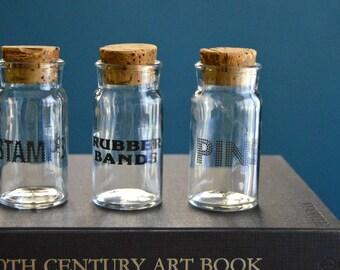 Set of Three Vintage Glass Bottles / Desk Supply Organizers