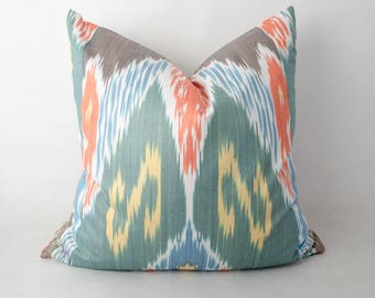 20x20 gorgeous ikat pillow cover yellow brown teal orange. an amazing decoration for your interior from Uzbekistan, ikat fabric, ikats