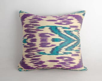ikat pillow cover purple cream cushion case, ikat fabrics 15x15 inches. uzbekistan ikat
