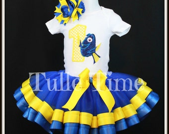 Embroidered 1st 2nd 3rd 4th 5th Number Dory birthday ribbon tutu dress size 12m 18m 2t 3t 4t 5t 6 7/8
